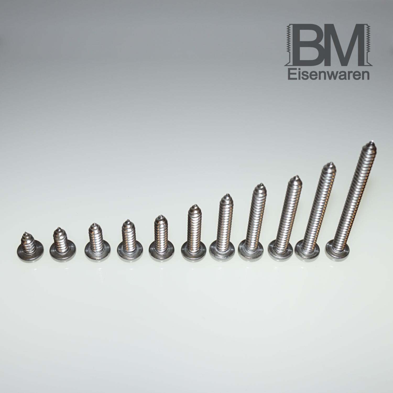 Blechschrauben 2,9mm DIN7981 Linsenkopf Edelstahl A2 Torx Form C